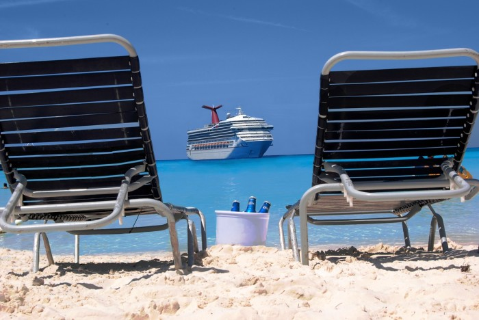 Relaxing on a beach on a Caribbean cruise