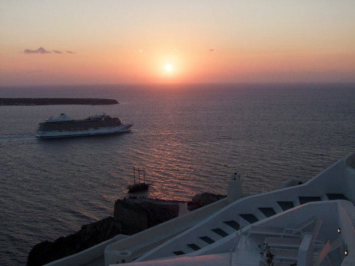 Cruise ship at Santorini, Greece