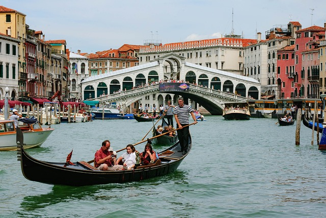 Gondola at Rialto in Venice